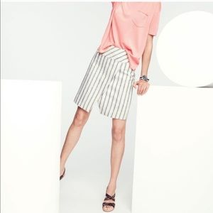 J. Crew Linen Crossover Striped Skirt